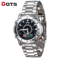 OTS Top Brand Luxury Analog-Digital dual time Waterproof Alarm Full Stainless Steel Watch men Quartz wristwatch Sport Military