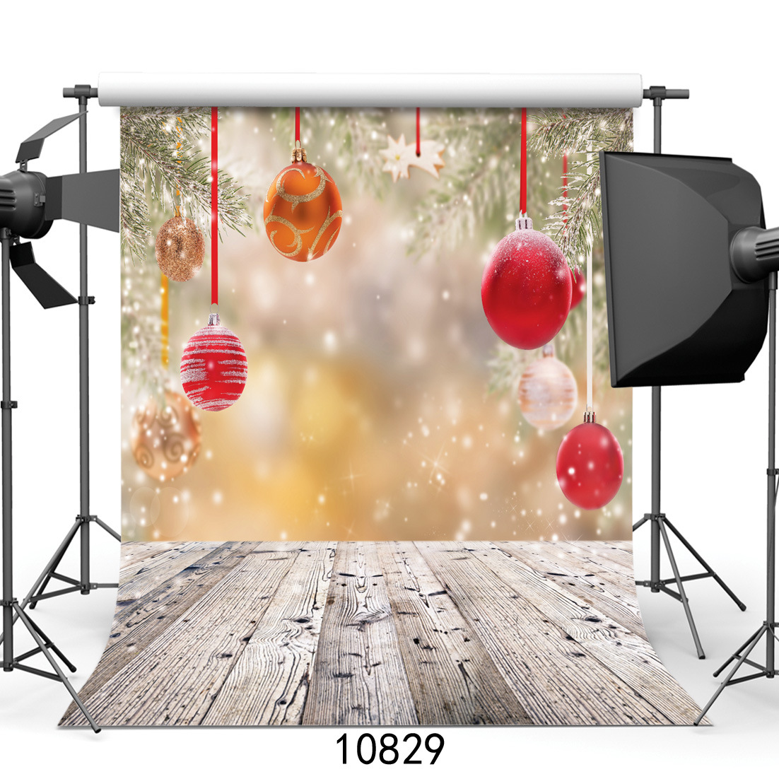 Christmas Party Decoration Photography Backdrops Wood Floor Studio Photo Background