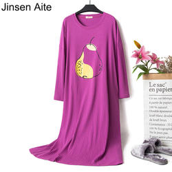 Цзиньсэнь Aite хлопок Для женщин Ночные сорочки 2019 Новый Демисезонный с длинным рукавом Свободные Повседневное шею большой размерная