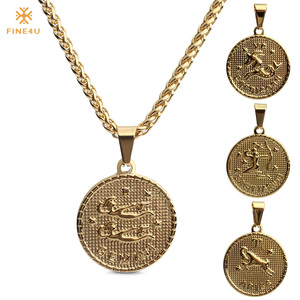 FINE4U 12 Zodiac Sign Constellation Pendants Necklace Stainless Steel Chain Necklace 2019 Big Coins Necklaces For Birthday Gifts