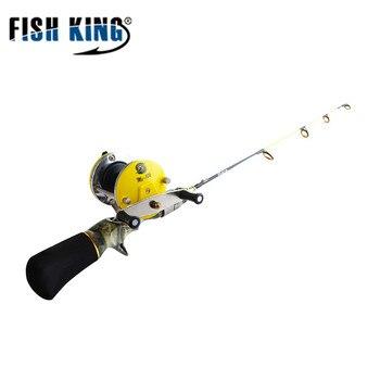 Juego de carrete de caña de pescar pez rey hielo 2 secciones 50cm 60cm Material de resina carrete de pesca cuenta de rodamiento 3,6: 1 3BB para pesca de invierno