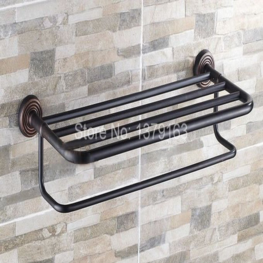 Bathroom Accessory Black Oil Rubbed Brass Wall Mounted Bathroom Towel Rail Holder Storage Rack Shelf Bar aba066 new arrivals wall mounted towel rail antique brass towel holder copper material bathroom towel racks towel shelf