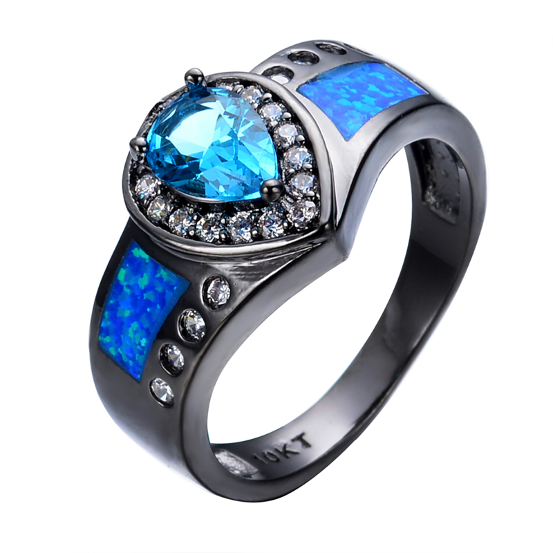 ocean blue fire opal stone ring heart light blue stone