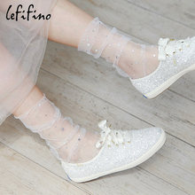 14a35131e LeFifino 2018 Summer Lady Fashion Stars Moon Dots Fishnet Socks Mesh Gold  Sliver Shiny