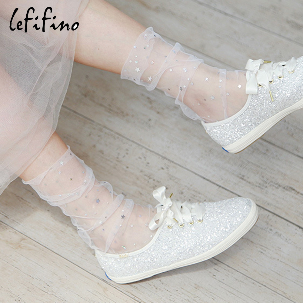 LeFifino <font><b>2018</b></font> Summer <font><b>Lady</b></font> Fashion <font><b>Stars</b></font>/Moon/Dots Fishnet Socks Mesh Gold Sliver Shiny <font><b>Sexy</b></font> Net Yarn Silk Sheer Socks Le67640 image