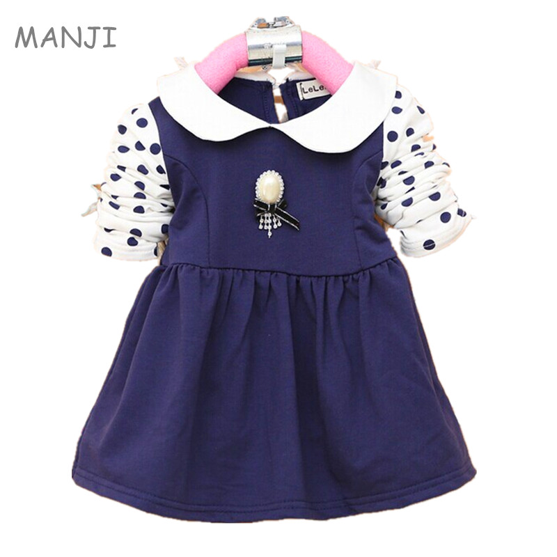 2018 Spring new Baby Girls dress Clothing cotton with dot full sleeves infant dresses A163