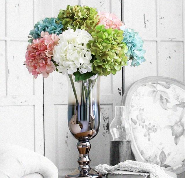 High Top Hydrangea Artificial Silk Flower Wedding Centerpieces Bouquet 55cm Dia 20cm Ornament Garland Home Decoration