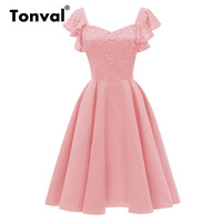 Tonval Ruffle Sleeve Floral Lace Pink Women Dresses Elegant Backless Evening Party Dress Pleated Vintage Dress