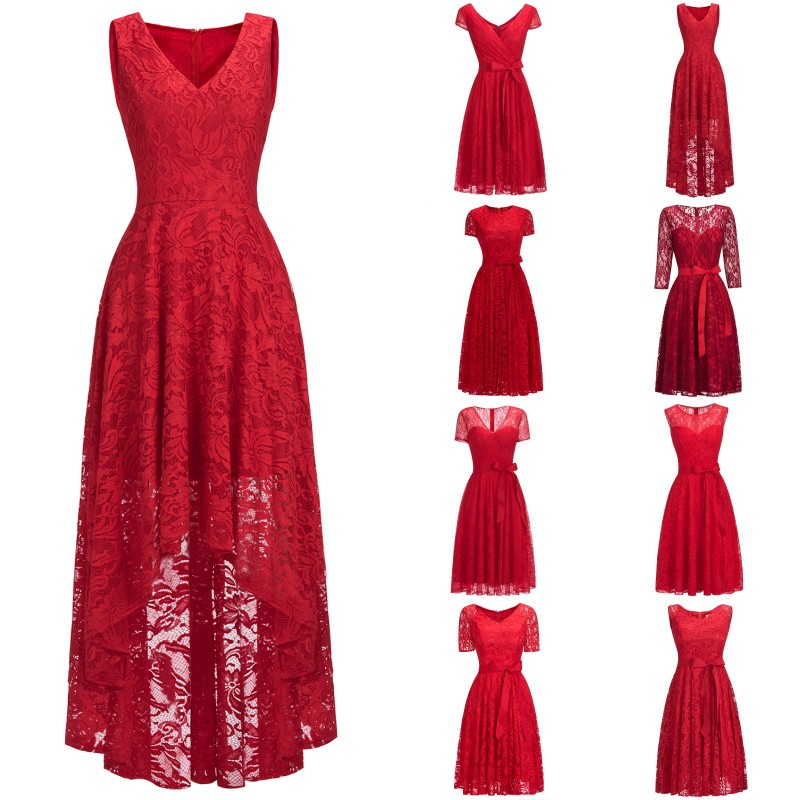 Cheap 2019 Sexy Elegant Red Short   Cocktail     Dresses   A line V Neck Sleeveless Lace Party Gown robe   cocktail