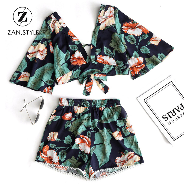 ZAN.STYLE Beach Floral Prints Tassel Women's set 2pcs Flare sleeve Back bow knot tied Cropped Top high waist elastic mini shorts