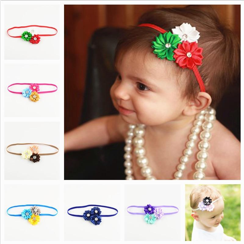 Ξ10 unids/lote bebé Niñas satén cinta 3 flores Bandas para la cabeza ...