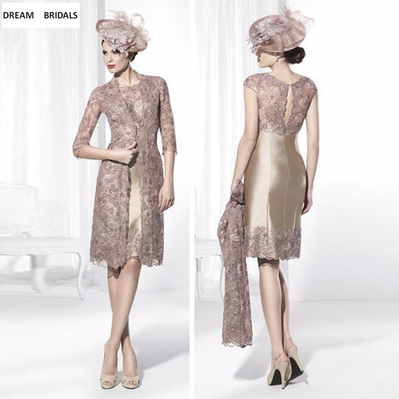 2019 Hot Half Sleeves Lace Mother Of The Bride Dresses Knee Length Brides Mother Dresses For Weddings With Long Jacket