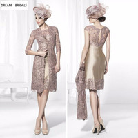2019 Champagne Lace Half Sleeves Mother Of The Bride Dresses Knee Length Brides Mother Dresses For Weddings With Jacket