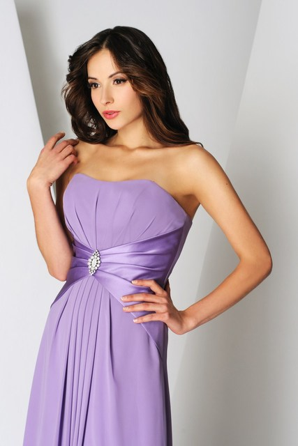 d7f13f3849d Hot Sale Chiffon A-line Light Purple Bridesmaid Dresses Strapless Ruffle  Pleat Beads Floor-length Sexy Wedding Party Gowns