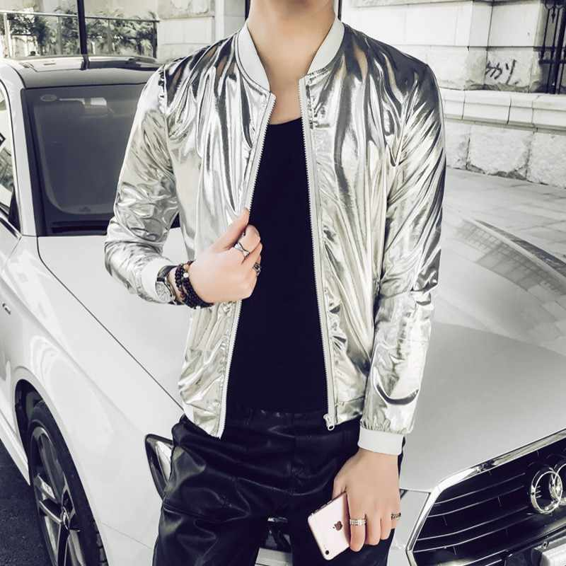 Silver Bright Bomber Jacket Men Cool Slimming Fashion Jacket Male Hip Hop Night Club Stage Singer Fancy Streetwear Coat 5XL