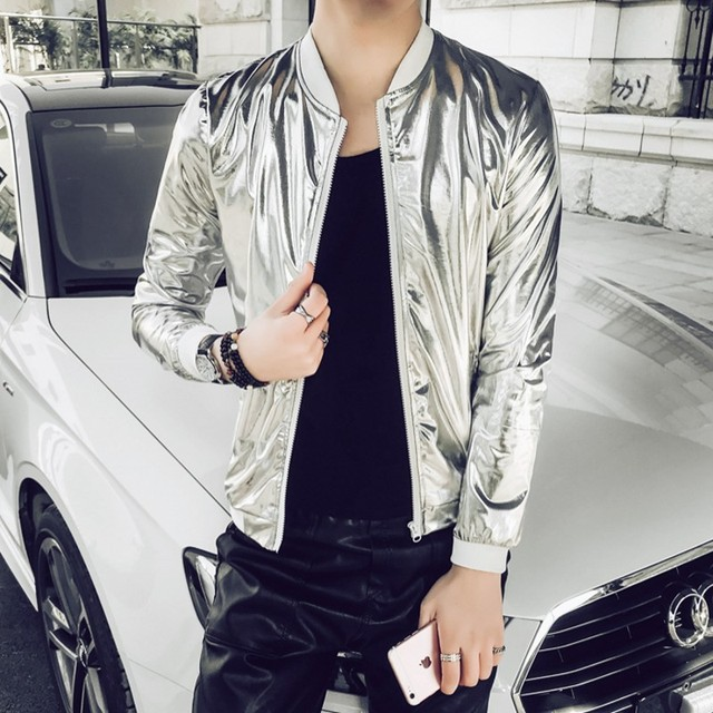 2020 New Fashion Jacket Men Silver Shiny Fabric Hip hop Streetwear Slim Fit Stretch Stage Dance Clothing Plus Size