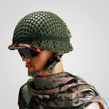 SET WWII US ARMY M1 HELMET +COVER COTTON CAMOUFLAGE NET GREEN +OD Cotton Strap