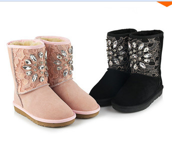 ФОТО Big EU size 34-43 2014 fashion Rhinestone leather snow boots Sexy Lace diamond Comfortable warm women's boots women shoes
