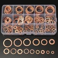 150 قطع 15 مقاسات تشكيلة الصلبة النحاس طوقا غسالات ختم حلقة مجموعة مع علبة بلاستيكية