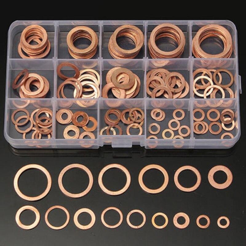 150 unids 15 tamaños surtido de cobre sólido Junta Arandelas sellado conjunto con caja de plástico