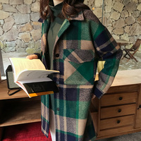 Casual Plaid Women Long Winter Wool Blend Coat Wide waisted Wool Coat and Jacket Single Breasted Outerwear