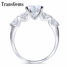 Transgems 14K White Gold Center Stone 1ct 6.5mm Side 4mm F Color Moissanite Diamond Anniversary Wedding Band Women Gifts
