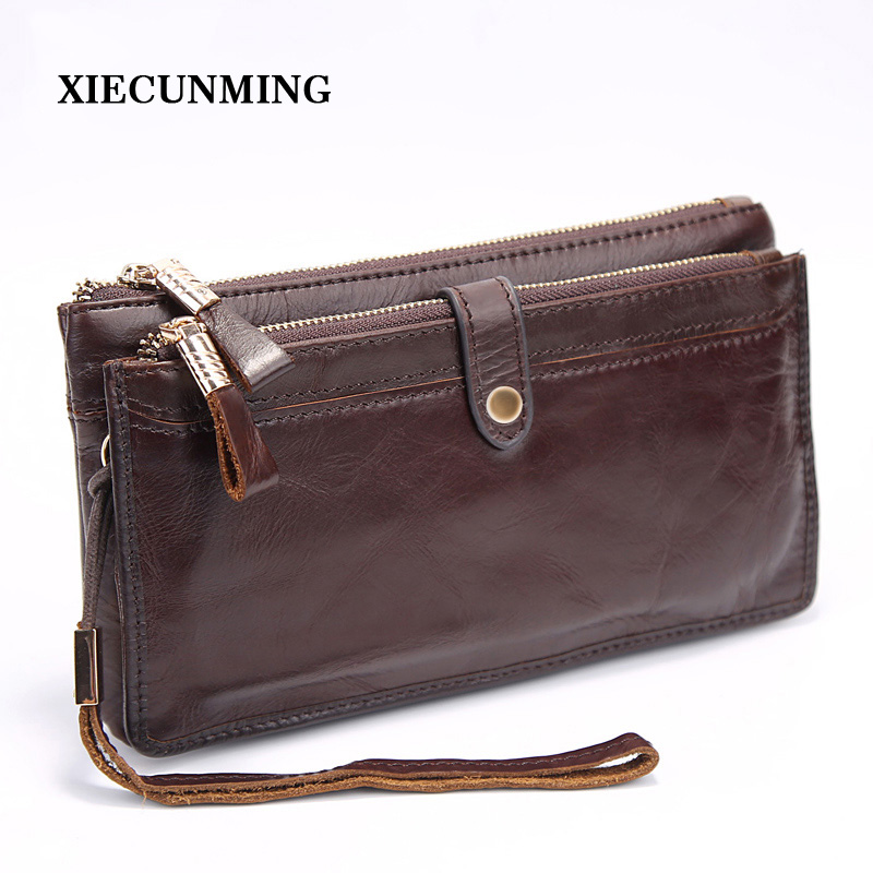 Double Zipper Money Clip Wallet Clutch Bag Men's Purses Genuine Leather Men Wallets Leather Man Wallet Long Male Purse fasiqi crocodile leather wallet soft skin fashion man wallet long wallet multi card money clip hand bag male business leather
