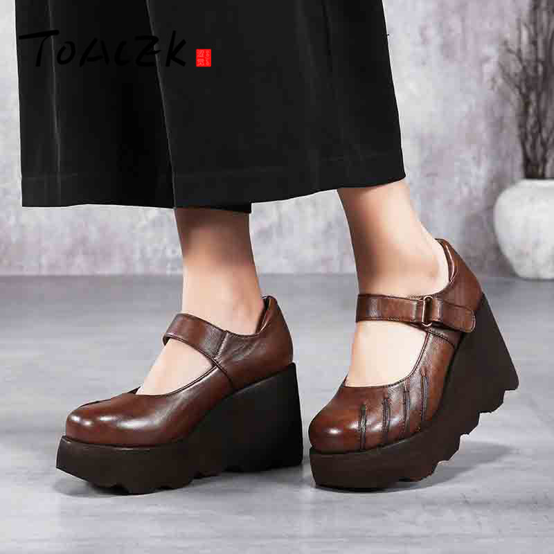 Original design spring new casual retro muffin bottom shallow mouth handmade leather women's shoes