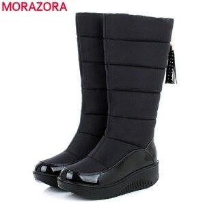 Image 3 - MORAZORA Plus rozmiar 35 44 rosja ciepłe buty na śnieg patent pu skórzana platforma do połowy łydki buty damskie obuwie zimowe buty niebieski czarny