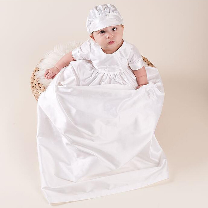 White Long Baby Girls Baptism Dresses With Hat Baby Girl 1 Year Birthday 2pcs Baptism Clothes Lace Christening Gown RBF184005 white christening dress baby girl christening gowns vintage long lace gown baby christenin baptism girl princess dresses