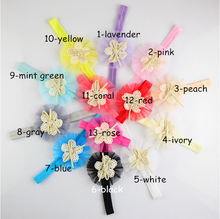 New arrived bowknots/tie Gauze flowers baby headband 20pcs handmade girls Elastic hairband diy heads decoration jewelry making