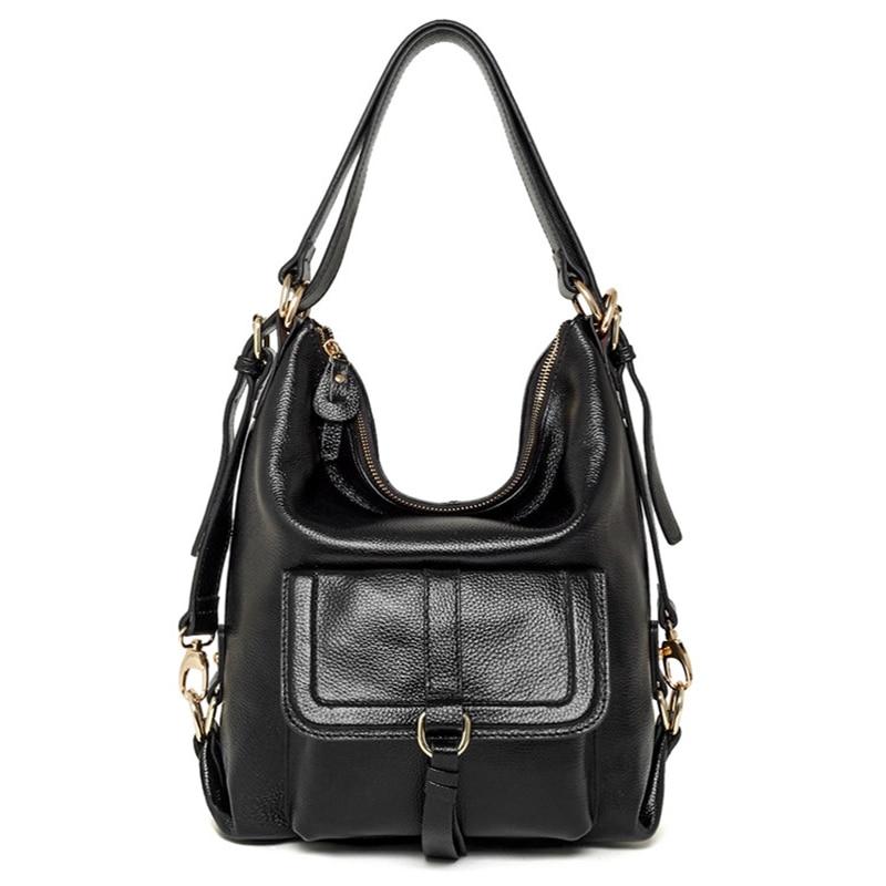 Divat valódi bőr szilárd hátizsák női alkalmi totes állítható pántok váll Messenger női táska