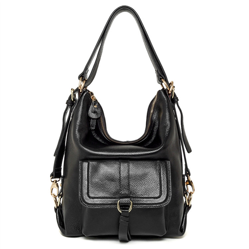 Fashion Genuine Leather Solid Backpack Female  Casual Totes With Adjustable Straps Shoulder Messenger  Women's Bag