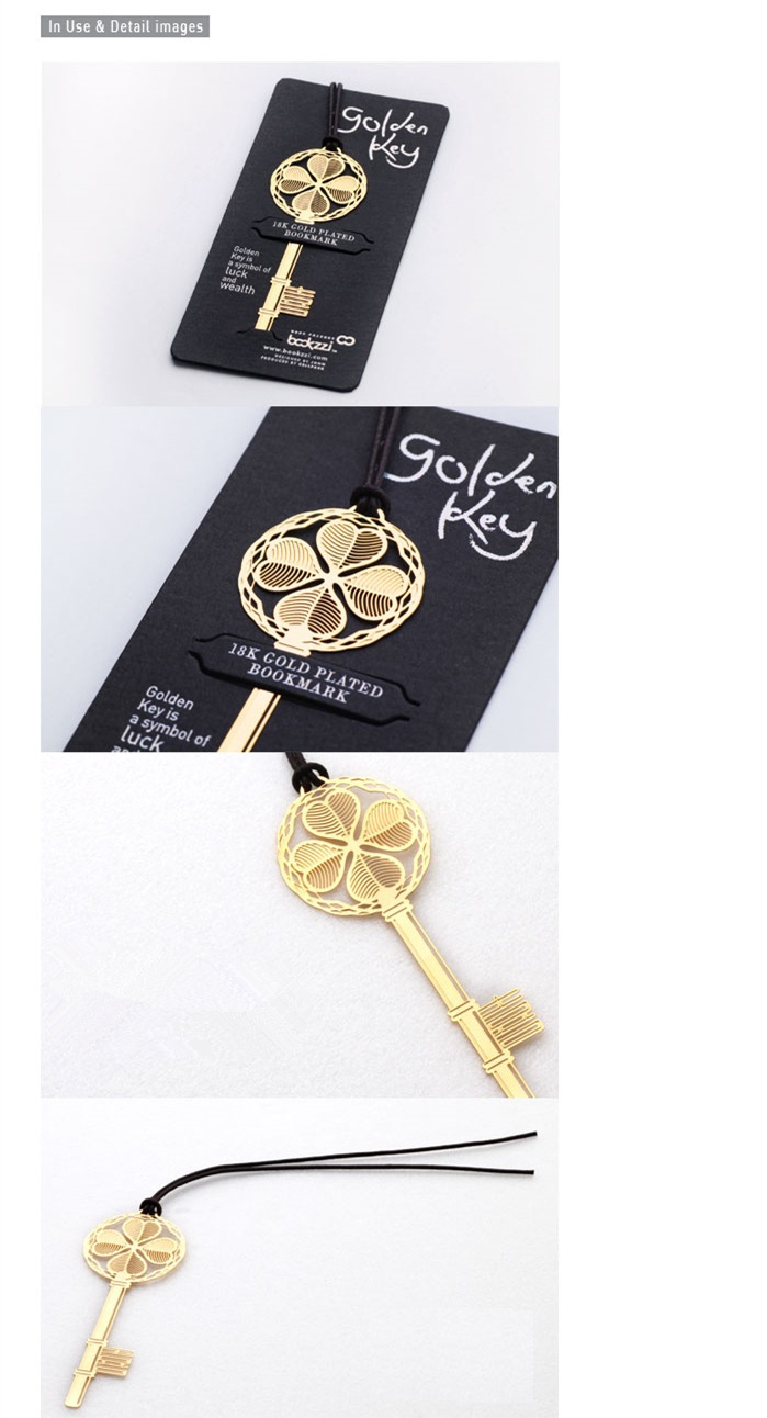 Image 3 - 40 pcs/Lot Lucky key bookmarks for book Golden Metal bookmark gift marcadores de pagina Stationery Office School supplies A6641Bookmark   -