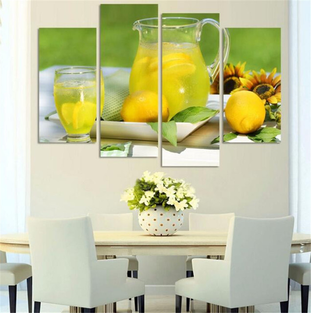 4 Panel Modern Printed Fruits Lemon Painting Picture On Canvas