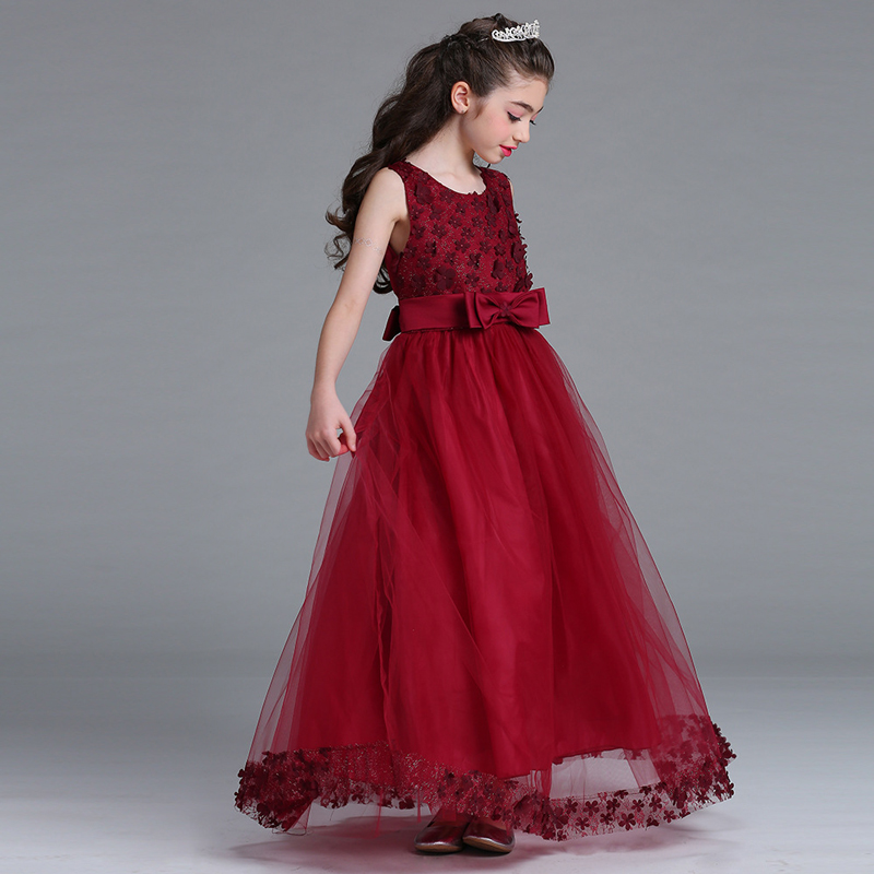 Childrens Wedding Dress 2018 Lace Princess Dress for Girls Clothes Tulle Childrens Costume Cute Bow Party Birthday Dress XL297