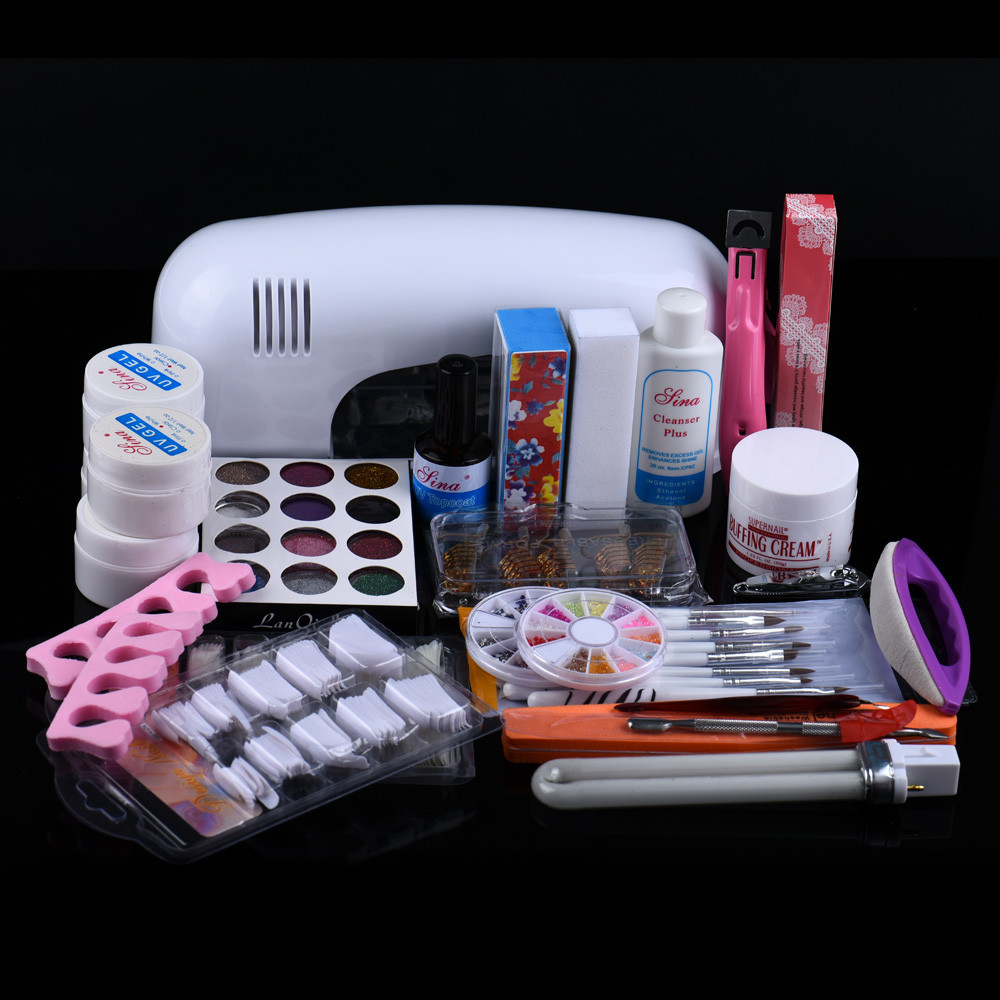 Nails Art set 25 in 1 Combo Set Professional DIY UV Gel Nail Art Kit 9W Lamp Dryer Brush Buffer Tool Nail Tips Glue Acrylic Set btt 116 free shipping pro 36w uv dryer acrylic nail art set acrylic nail kit kit nail gel kit gel nails set with lamp