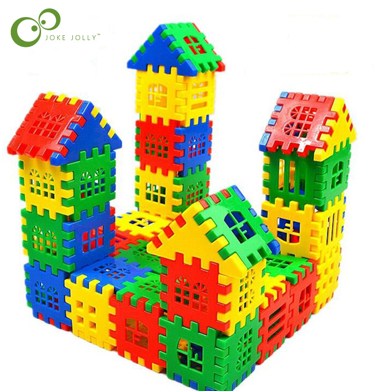 24pcs/lot Baby Paradise House Spelling Puzzle Plastic Blocks City DIY Creative Model Figures Educational Kids Toys LYQ(China)