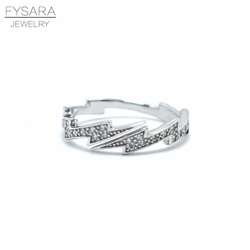 FYSARA 925 Sterling Silver Ring Sparkling Lightning Midi Ring For Women Party Jewelry Clear CZ Zircon Silver Ring Finger Rings image
