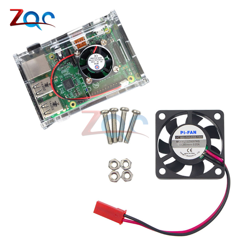 5V 0.2A Cooling Cooler Fan for Raspberry Pi Model B+ / Raspberry Pi 2/3 Cooler Brushless DC CPU Fan With Screws Parts sunon eg50050s1 c640 s9a dc 5v 2 25w server cpu fan