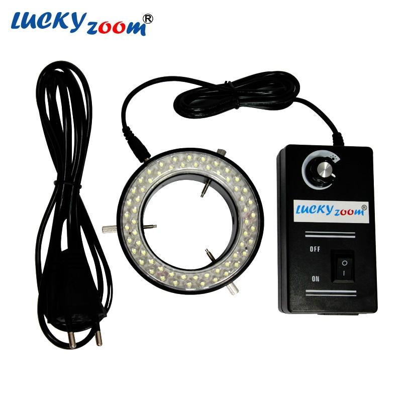 Luckyzoom New Arrival 60 LED Adjustable Ring Light Illuminator Lamp For STEREO ZOOM Microscope EU/RU/US Plug With Black