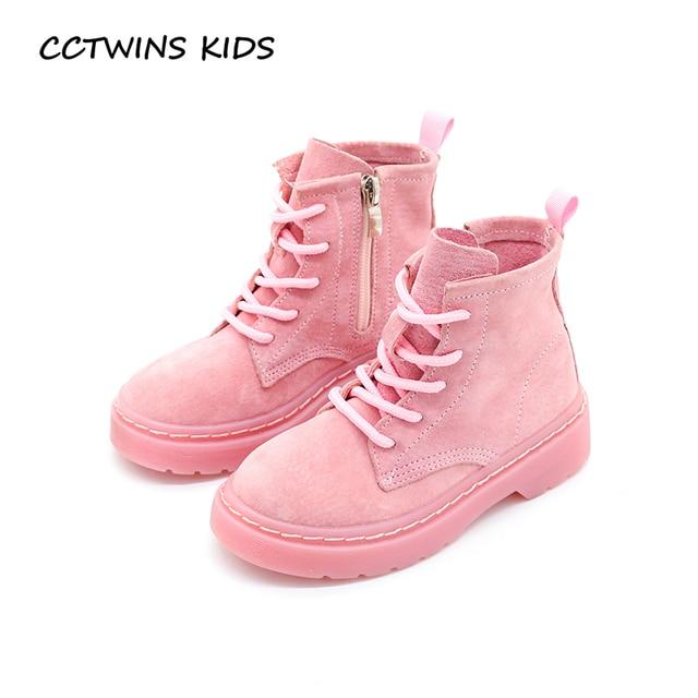 2e90e698afc19 CCTWINS ENFANTS 2017 Enfants En Cuir Véritable Cheville Boot Kid  Dentelle-Up Bébé Fille Martin