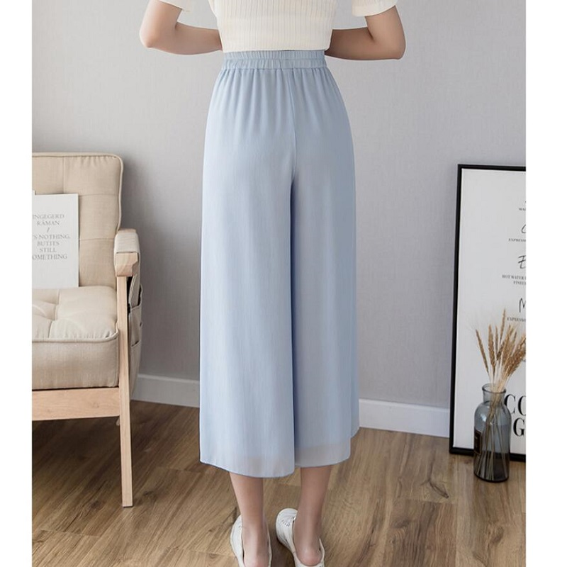Chiffon Wide Leg   Pants   Women 2019 Spring Summer New Fashion Elastic High Waist   Pants   Loose   Pants     Capris   Female sk340