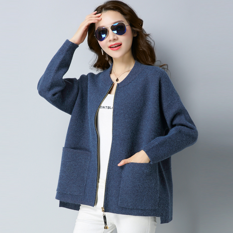 Knitted cardigan female 2019 new short style outside the big fat MM200 Jin autumn winter Han