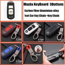 3 кнопки Авто клавиатура 1 комплект карбоновый Автомобильный ключ чехол для ключей от автомобиля оболочка брелок для ключей для Mazda CX 5 7 9 RX MPV MX