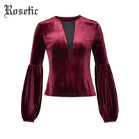 Rosetic Velvet Fabric T Shirts Women Fashion Gothic Style Autumn Puff Sleeve Long Sleeve V Neck Burgundy Color Sexy Tops Tees