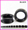 1 Pair Silicone Black Hollow Double Flared Saddle Plugs Ear Stretcher Expander Gauges Punk Rock Tunnel Piercing Jewelry