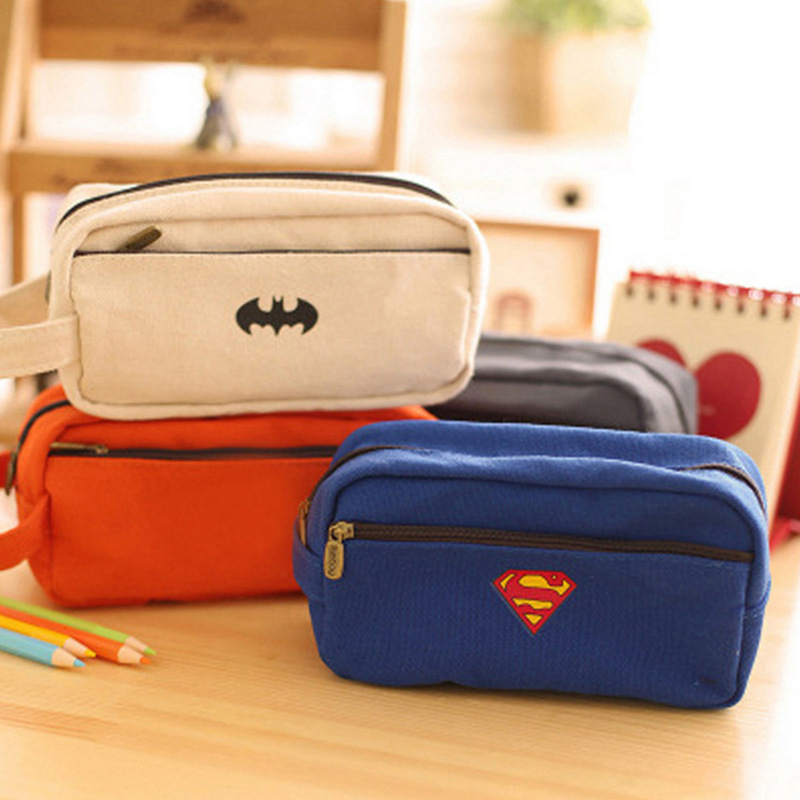 Surper Hero Series Pencil Case Big Capacity Pencil Bag Boy Girl Cartoon Box For Pens Double Zipper Cute Bat pen bags Stationery big capacity high quality canvas shark double layers pen pencil holder makeup case bag for school student with combination coded lock