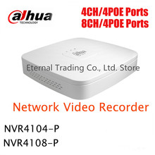 8ch Smart 1U POE NVR DAHUA 8ch 1080P NVR support 4 POE mini NVR support 1SATA HDD Onvif NVR4108-P ,free DHL shipping