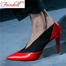 FACNDINLL brand shoes woman spring summer pumps sexy high heels pointed toe balck red dress party office ladies shoes pumps